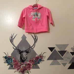 Carters | Pink Elephant Print Sweater Hoodie Sz 3m